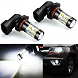 JDM ASTAR Extremely Bright 2600 Lumens Max 50W High Power H10 9145 LED Fog Light Bulbs for DRL or Fog Lights, Xenon White (Color: White)