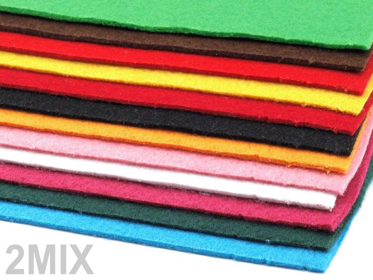 Dekorativer Bastelfilz 20x30cm DIN A4 , Stärke 2-3mm – 12 Bögen farbig sortiert – 3 vers. Sets wählbar (2MIX) jetzt kaufen