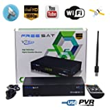 Free Sat Digital FTA V7 Max Decoder HD 1080P Satellite TV Receivers DVB-S2 Receptor, Supports USB PVR Ready, Full PowerVu, DRE &Biss key and USB WIFI(An USB Wifi Dongle for Gift)