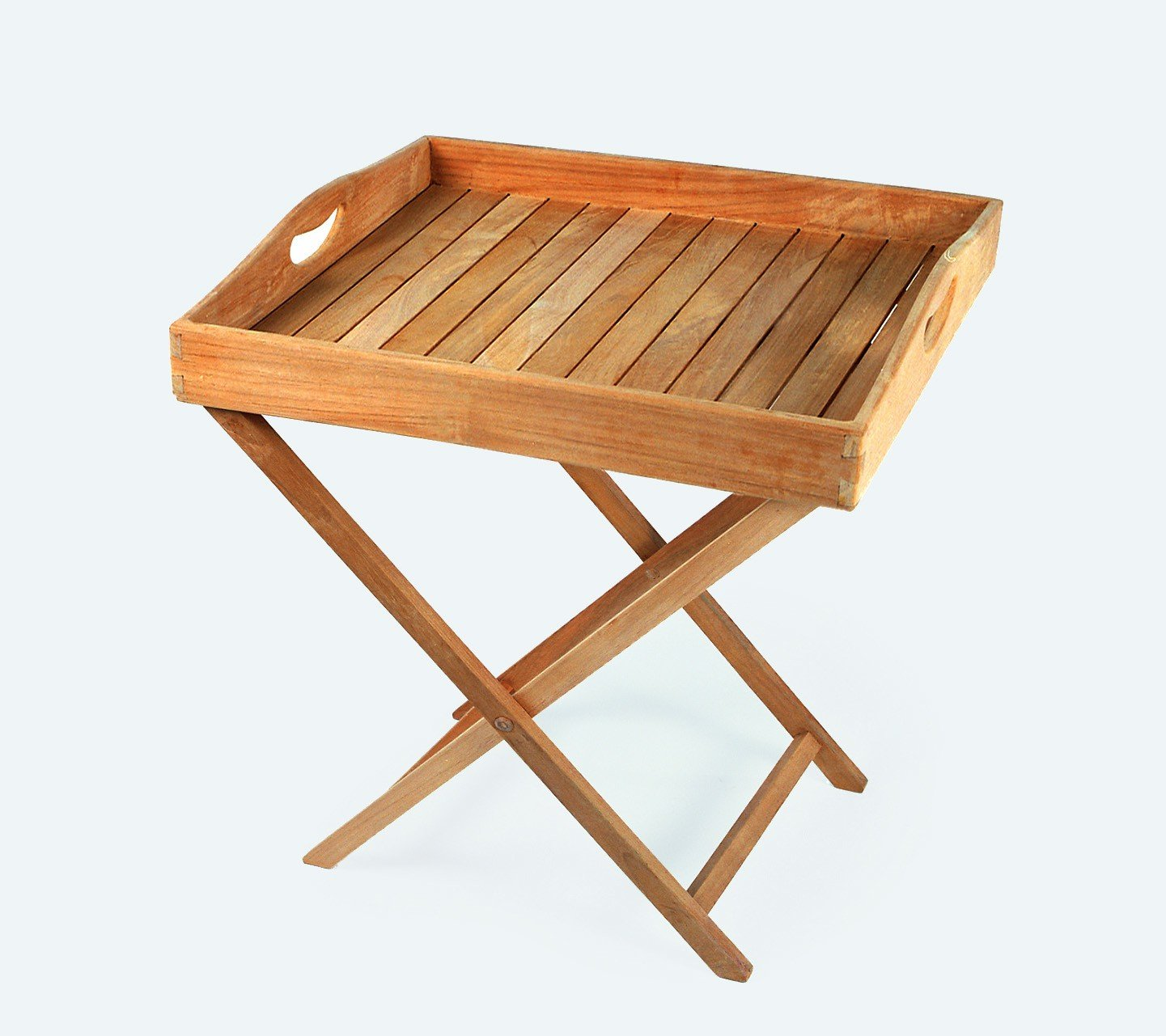 Tablett mit Gestell Beistelltisch Tisch Gartentisch aus Teakholz CONNY PLOSS Neu günstig