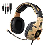 SADES SA818 Gaming Headset for New Xbox One PS4 PC Laptop, 3.5mm Over Ear Gaming Headphones with Mic and Volume Control for Nintendo Switch Games, Camouflage (Color: Camouflage)