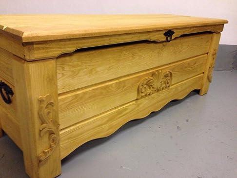 Cassapanca in legno rovere rustico tavolino tronco vintage ottomano (BT5)