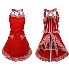 Cute Red Cotton Flirty Womens Aprons Fashion for Girls Vintage Cooking Retro Apron with Pockets Special for Gift