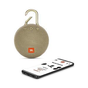 JBL JBLCLIP3SAND Clip 3 Portable Waterproof Wireless Bluetooth Speaker - Sand (Renewed) (Color: Sand)