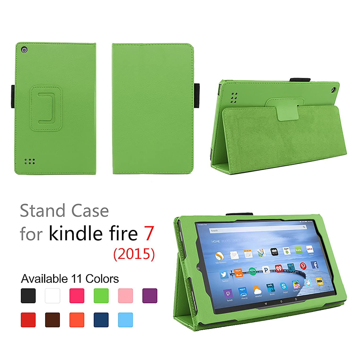 "Case for Fire 7 - Elsse Premium Folio Case with Stand for the NEW Fire, 7"" Display (Sept, 2015 Release) - Green"