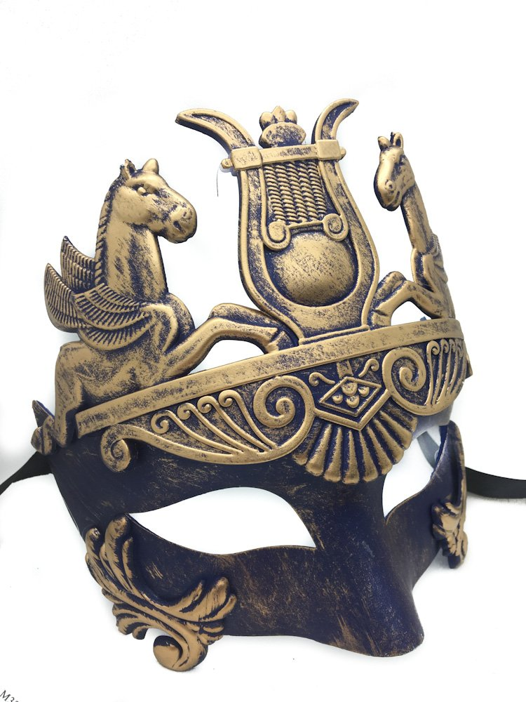 Gold & Silver (Blue) Antique Roman Egyptian Greek Ancient Hercules Mardi Gras Masquerade Mask (Blue/Gold) 1