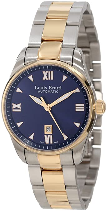 Louis Erard Women's 20100AB25.BMA20 Heritage Automatic Blue Dial Steel and Rose Gold PVD Watch