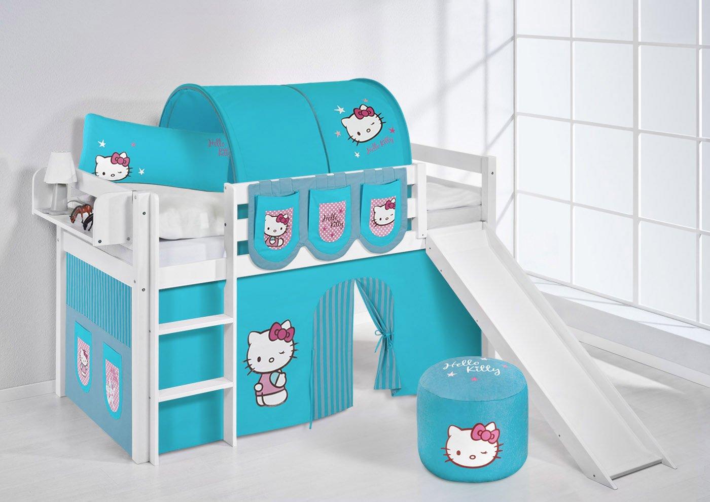 Spielbett JELLE Hello Kitty Türkis Lilokids Hochbett LILOKIDS Weiß mit Rutsche und Vorhang kiefer günstig bestellen