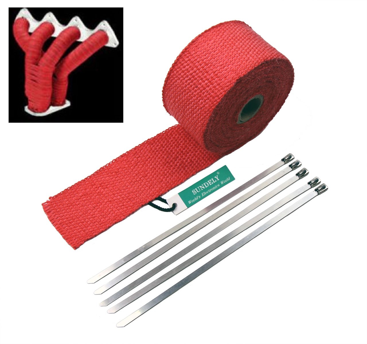 SUNDELY® Red Color Glassfiber Exhaust Pipe Header Heat Wrap Resistant Downpipe Tape Roll 2in X 16ft (5cm X 5m) + 5 Metal Ties 0