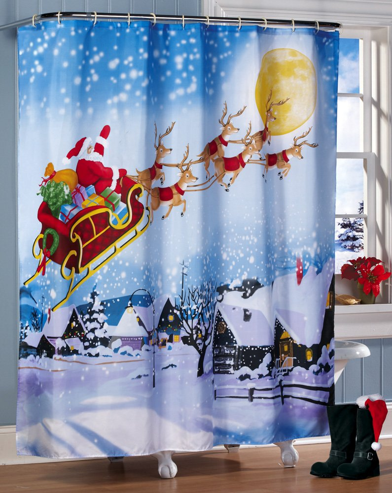 Santa's Flight Christmas Bathroom Shower Curtain