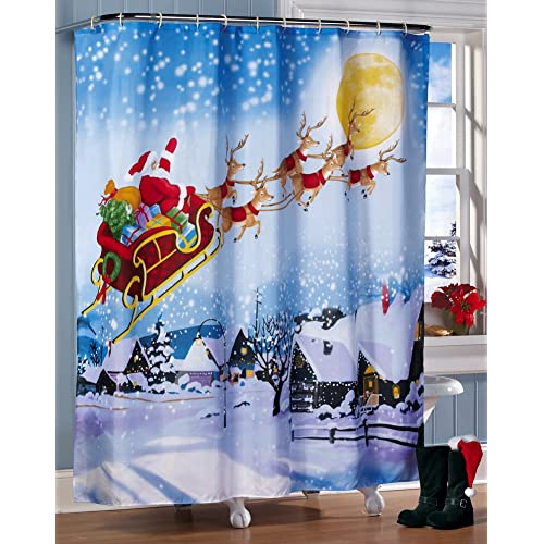 Santas Flight Christmas Bathroom Shower Curtain