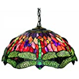 Tiffany Style Dragonfly Red Hanging Lamp (Color: Red, Tamaño: Hanging Lamp)