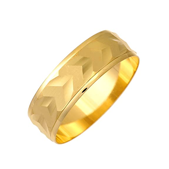 9ct Yellow Gold Arrowed Design 7mm Wedding Ring