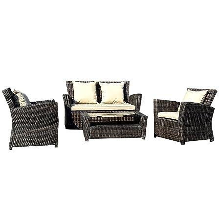Conjunto muebles de jardín de ratán 1 Mesa con vidrio+3 Sofás + 7 amortiguadores Marrón