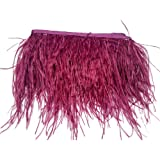 wanjin Ostrich Feathers Trims Fringe with Satin Ribbon Tape for Dress Sewing Crafts Costumes Decoration Pack of 2 Yards (purple) (Color: 18#-purple)