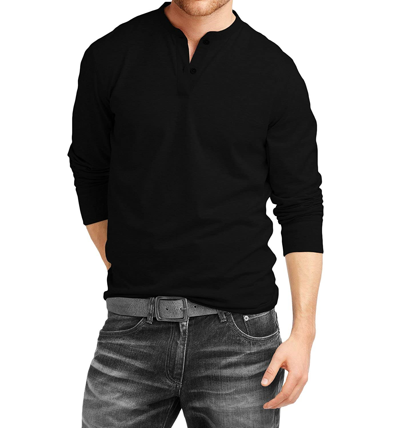 Black t shirt collar - Fanideaz Men S Cotton Henley Full Sleeve T Shirts For Men Premium Black Henley T Shirt Amazon In Clothing Accessories