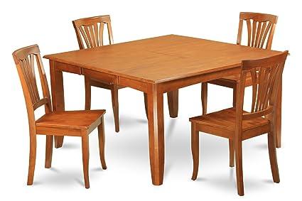 East West Furniture PFAV5-SBR-W 5-Piece Dining Table Set