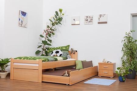 """Einzelbett / Funktionsbett """"Easy Sleep"""" K1/h Voll inkl. 2. Liegeplatz und 2 Abdeckblenden, 90 x 200 cm Buche Vollholz Natur"""