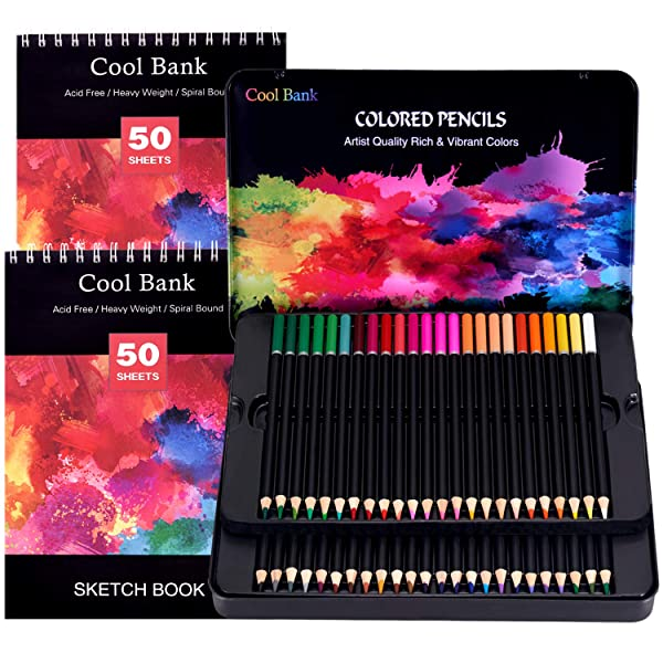 48 Colored Pencils,Art Supplies with 2 x 50 Page Drawing Pad(A4), Premium Artist Soft Series Lead with Vibrant Colors for Sketching& Coloring,Artist Pencils for Beginners & Professionals in Tin Box (Color: 48PCS, Tamaño: 48PCS)