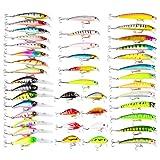 elegantstunning 43 Pcs Colorful Fishing Lure Tackle Artificial Minnow Crank Baits Imitation Fish Shape Lure with Fishhook