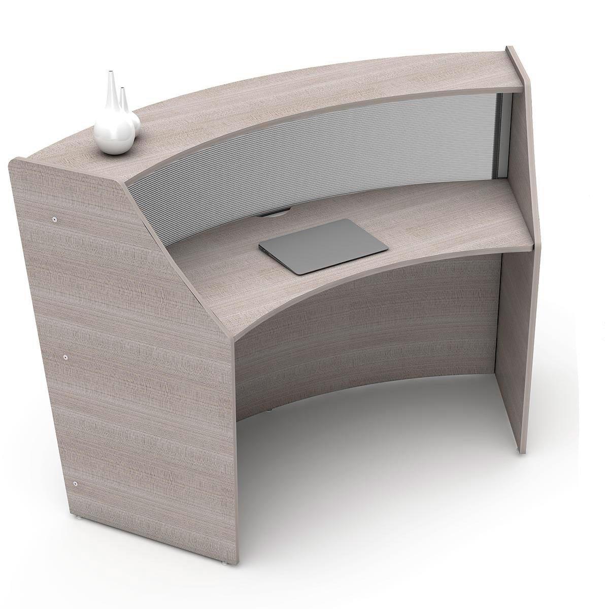 Linea Italia Curved Reception Desk, Single Unit, Clear Panel, Ash Laminate, Modern Office Lobby, Perfect for Small Spaces, Receptionist, Secretary