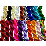 Pamir Tong Full-Colors 20bundles 300 Yards 1.5mm Satin/Rattail Silk Cord for Necklace Bracelet Beading Cord (Type 01) (Color: Type 01, Tamaño: 1MM)
