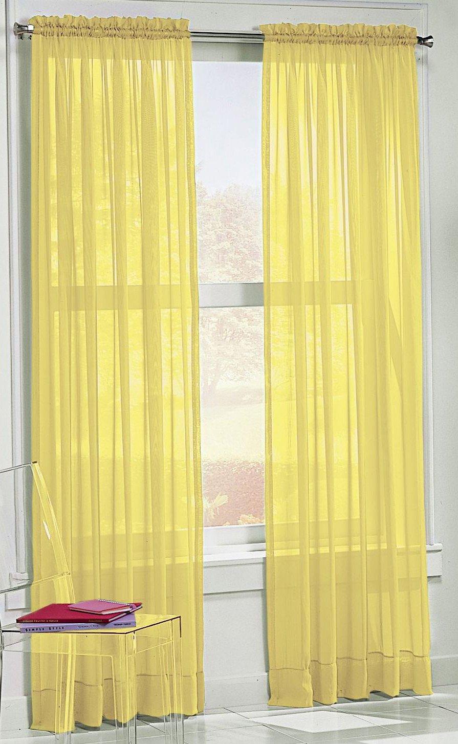 Sheer yellow curtains -