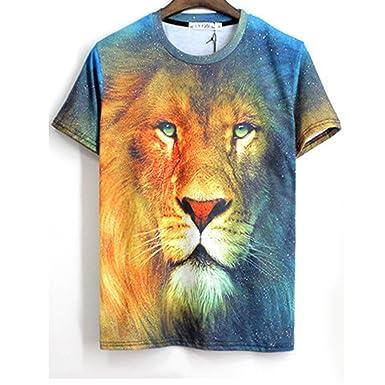 TM hip hop Men short sleeve V 3d Lion Print Hip Hop T