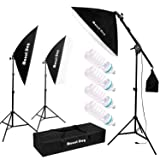 MOUNTDOG 1350W Photography Studio Soft Box Softbox Lighting Kit with 4X 5500K Bulbs Arm Holder Photo Video Continuous Lighting Set for YouTube Portrait Shooting