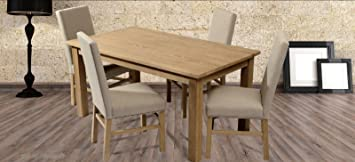 Dining Table in Solid Wood with 4 Chairs Furniture Set
