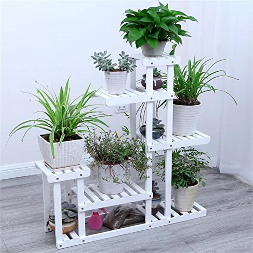Weiß Anti - Korrosion Massivholz Falling Flower Rack Indoor Multi - Storey Balkon Wohnzimmer Outdoor Flower Pot Rack