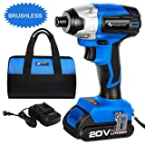 20V Max Lithium Brushless Imapct Driver, PROSTORMER 1/4-Inch Hex Cordless Impact Driver with Battery and Charger, Variable Speed, Max Torque 1327In-lbs, Tool Bag Included (Color: Impact Driver)