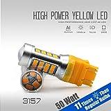 2018 50W High Power Chip LED Projector Reverse Back up Blinker Turn Signal Brake Stop Light Bulbs (Amber/Yellow, 3157)