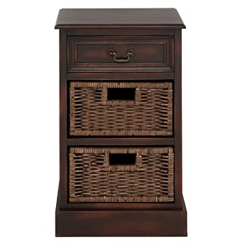 Urban Designs 3-Drawer Wooden Storage Chest Night Stand with Wicker Baskets
