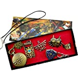 Onlyfo The Legend of Zelda Pocket Watch Locket Pendant Necklace Ring Brooch Keychain Jewelry Sets (6PC),The Legend of Zelda Jewelry Sets for Boys, Girls (Coppery)