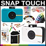 Polaroid Snap Touch Instant Camera Gift Bundle + ZINK Paper (30 Sheets) + Snap Themed Scrapbook + Pouch + 6 Edged Scissors + 100 Sticker Border Frames + Gel Pens + Hanging Frames + Accessories (Color: Blue)