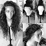 Lace Front Wigs Water Wave Human Hair Full Lace Wig Virgin Glueless Hair Natural Black Color for Black Women KRN Carina Hair (20inch, lace front wig) (Color: lace front wig, Tamaño: 20inch)