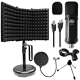AxcessAbles MX-715 USB Condenser Microphone with Desktop Isolation Shield Bundle