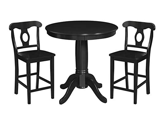 Dorel Living 3-Piece Aubrey Counter Height Dining Set, Black
