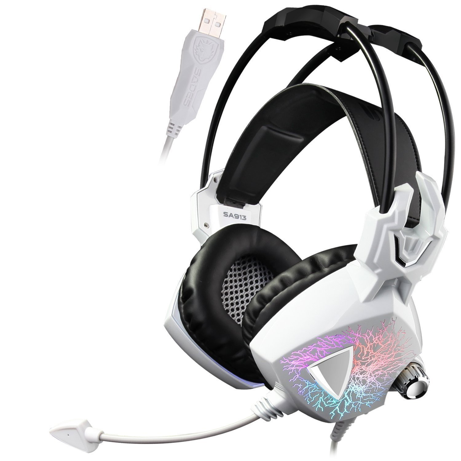Sades Surround Sound Headset Stereo Over Ear Headphones with Microphone (White)