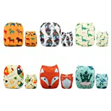 ALVABABY Cloth Diapers One Size Adjustable Washable Reusable for Baby Girls and Boys 6 Pack with 12 Inserts 6DM51 (Color: Sets 6DM51, Tamaño: All in one)
