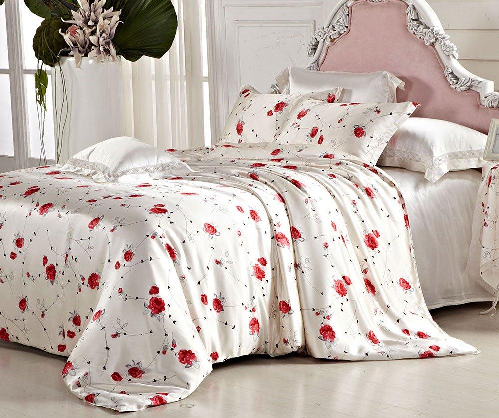 Orifashion Luxury 5 Pieces 100% Silk Charmeuse Bedding Set, Cute Printed Red Flowers Pattern (Model BSSJSL005), California King Size