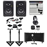 Mackie MCU Pro 8-ch DAW Controller+Monitors+Stands+Pads+Headphones+Shield+Mic