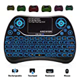 ANEWISH 2.4GHz RF Wireless Mini Keyboard with Touchpad Mouse Combo, Rechargable & Light & Handheld Smart Remote for Google Android TV Box,PS3,PC,PAD (Color: T2-7 backlit, Tamaño: Medium)