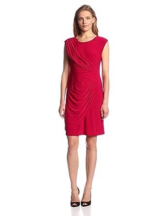 Tiana B Women's Solid Asymmetrical Dress, Red, 8