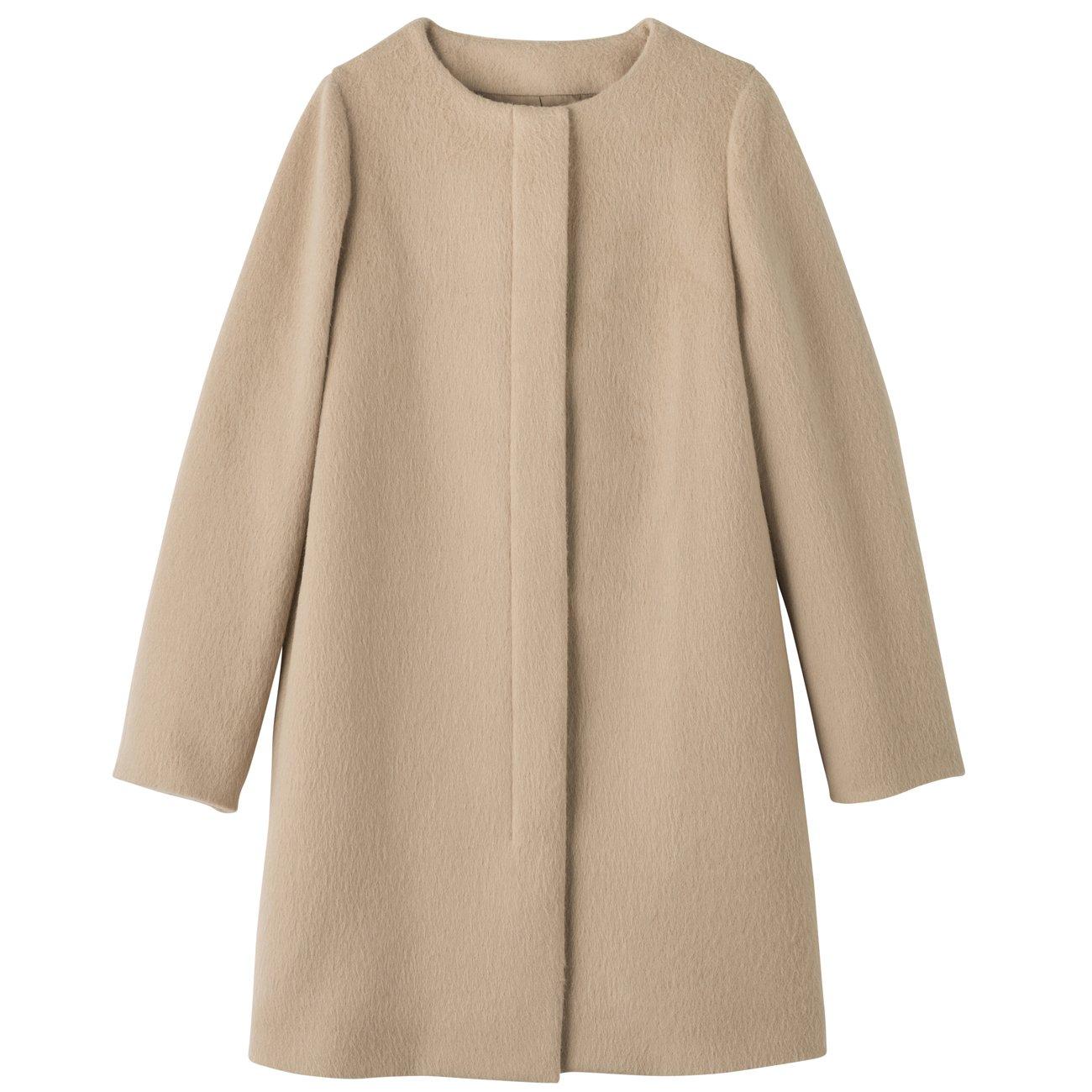 Amazon.co.jp: (インディヴィ)INDIVI アルパカシャギーノーカラーコート: 服&ファッション小物通販