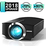 Video Projector, GooDee Mini Projector 2018 (Upgraded Version) +80% lumens LED Portable Projector with HDMI, Movie Projector with 130