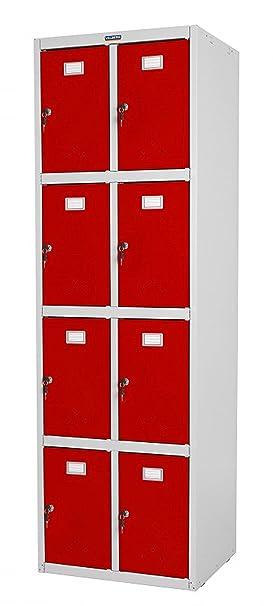 Armoire coloris rouge et gris en métal - Dim : 183 x 58 x 50 cm -PEGANE-
