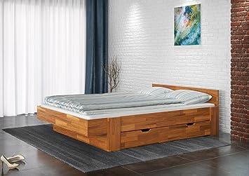 Einzelbett / Funktionsbett Nadim 5 inkl. 2 Schubladen, Wildeiche Vollholz massiv geölt - Liegefläche 140 x 200 cm