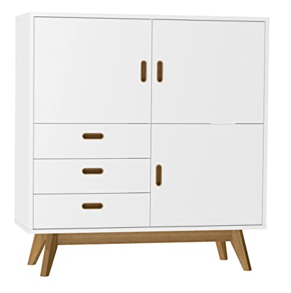 Tenzo BESS Designer Highboard, 120 x 114 x 43 cm, White/Oak